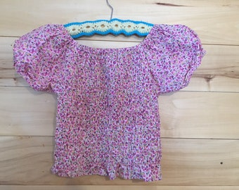 Vintage Pink Cotton Floral Stretchy Crop Top Size Medium Small