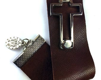 Soft suede cuff wih silver cross and vintage Miraculous  medal dangle