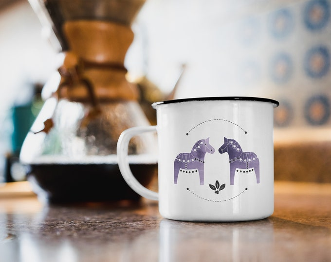 Dala Horse Enamel Mug, Campfire Mug, Dala Horse Mug, Purple Dala Horse