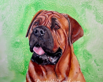 Mastiff Print, Mastiff Giclee Print, Mastiff Art, Mastiff Home Decor, Mastiff Wall Art, Mastiff Painting, Mastiff Gifts