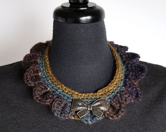 Reversible Collar Necklace Turquoise Khaki Mustard Dark Purple Color with Metal Bow Pendants
