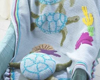 Turtle Afghan & Pillow Toy Pattern Crochet Pattern PDF