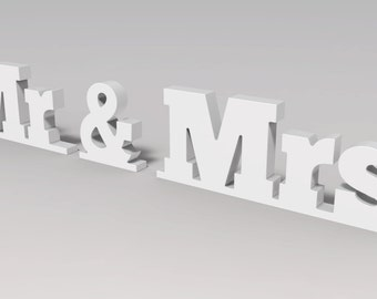 Wooden letters Mr and Mrs sign for wedding Custom Made and Painted.