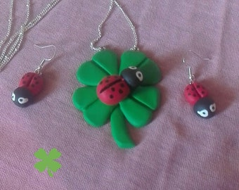 Set Earrings + Necklace polymer clay pendant