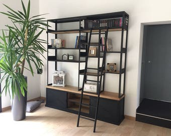 Industrial bookcase in oak with scale