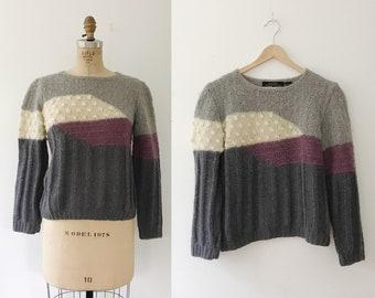 vintage knit sweater / popcorn stitch sweater / Shades of Lavender Sweater