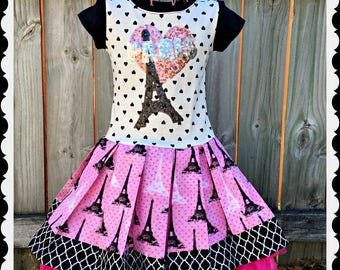 girls PARIS dress 4 5/6 6/6X ready to ship