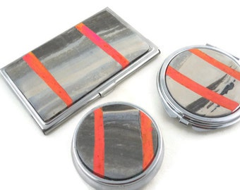 Card case, pill box and compact mirror unique set for purse gray and orange