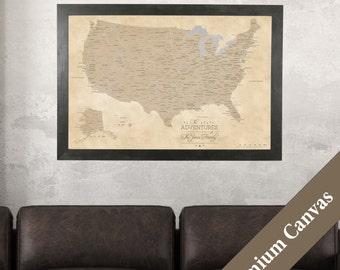 CANVAS Personalized Vintage USA Travel Map - Push Pin Travel Map - Canvas USA Map - 2nd Anniversary Gift Idea - Cotton Anniversary Gift Idea