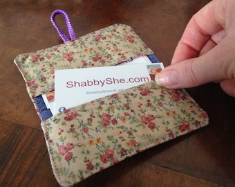 Pretty Giftcard Holder, Floral fabric wallet, Business card organiser, Mothers days gift, Upcycled fabric purse, Credit card case, Eco gifts