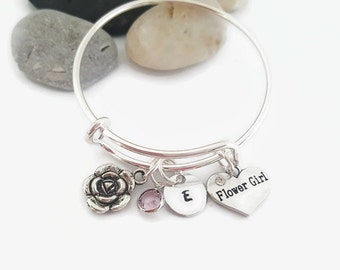 Flower girl bangle - Flower girl personalized bracelet - bridal party jewelry - Wedding party gift for flower girl - Flower girl child size