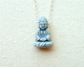 Boho buddha necklace spiritual buddhism blue oriental bead -set A