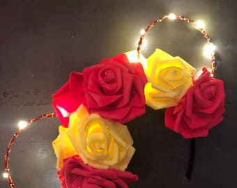 Light up Belle mouse ears, beauty and the beast Minnie Ears, beauty and the beast ears, wire ears