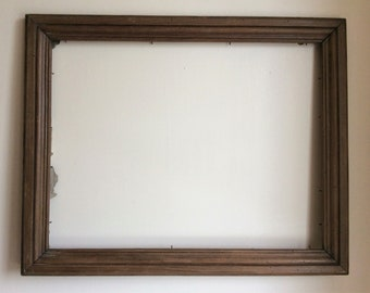 "Vintage wood picture frame, large French country wooden frame 25"" x 20"""