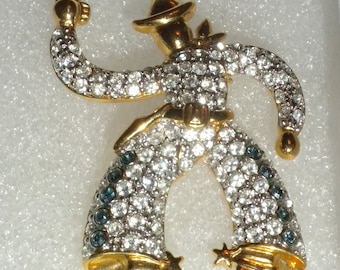Vintage 1940's Pave Rhinestone Cowboy Figural Pin Brooch unsigned.