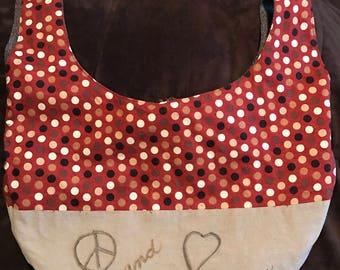 Handmade Reversible Purse, Japanese Style Shoulder Bag, Hobo Bag, Several Pockets