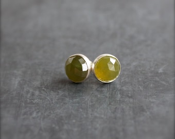 Green Vessonite Stud Post Earrings Sterling Silver Gemstone 8mm Stone Metalwork Jewelry