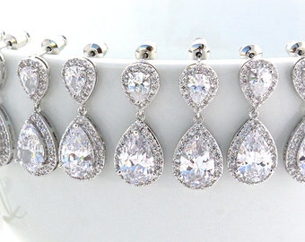 Bethany - Personalized Wedding Earrings, Bridal Earrings, Crystal Teardrop Earrings, Bridesmaid Gift, Bridesmaid Earrings, Bridal Party Gift