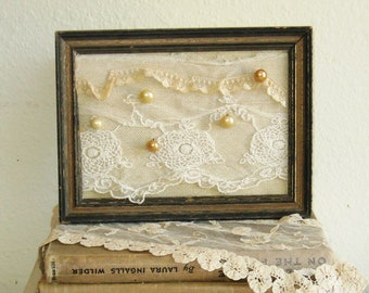 Shabby Cottage Wall Art, Vintage Lace and Pearl Buttons in a Rustic Frame
