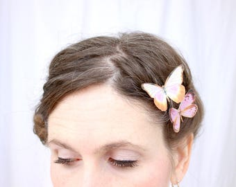 2 silk butterfly hair clips . your choice of butterflies . realistic gifts for birthday, wedding, bridesmaids, parties . costume . handmade