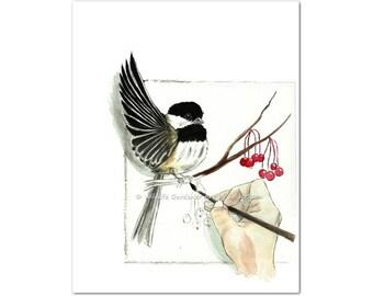 Painting A Chickadee Watercolor Art Print, Whimsical Wild Bird Art, Modern Wall Art, Nature Art, Contemporary Decor