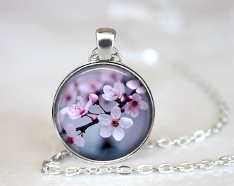 Cherry Blossoms 3 Glass Pendant, Photo Glass Necklace, Glass Keychain