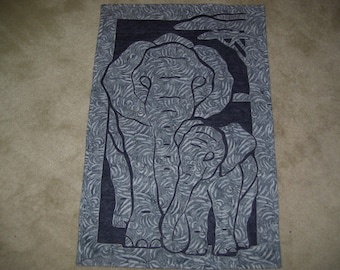 Elephant quilt-elephant wall quilt-elephant batik wall quilt-machine appliqued and quilted