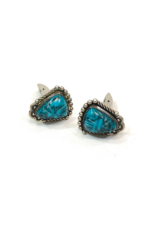 Turquoise Sterling Silver Cuff Links, Mexican Aztec Tribal, Beaded Roped Silver, Fancy Mens Accessory, Vintage Mid Century Gemstone Jewelry