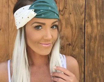 Boho Gold Triangle Turban Headband || Teal Green White Cream Ivory Arrow Stretch Jersey Knit Cotton Hair Band Bohemian Festival Accessory