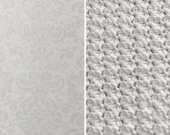 Damask-White-Gray-Damask-Minky-Crochet Blanket-Burp Cloths-Layette Set