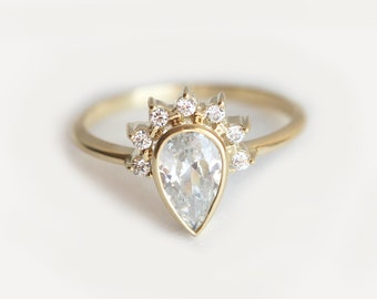 Diamond Engagement Ring, Half Halo Ring, Pear Diamond Ring, .75 Carat Diamond Ring, Pear Diamond Engagement Ring, 18k Diamond Ring, Ring