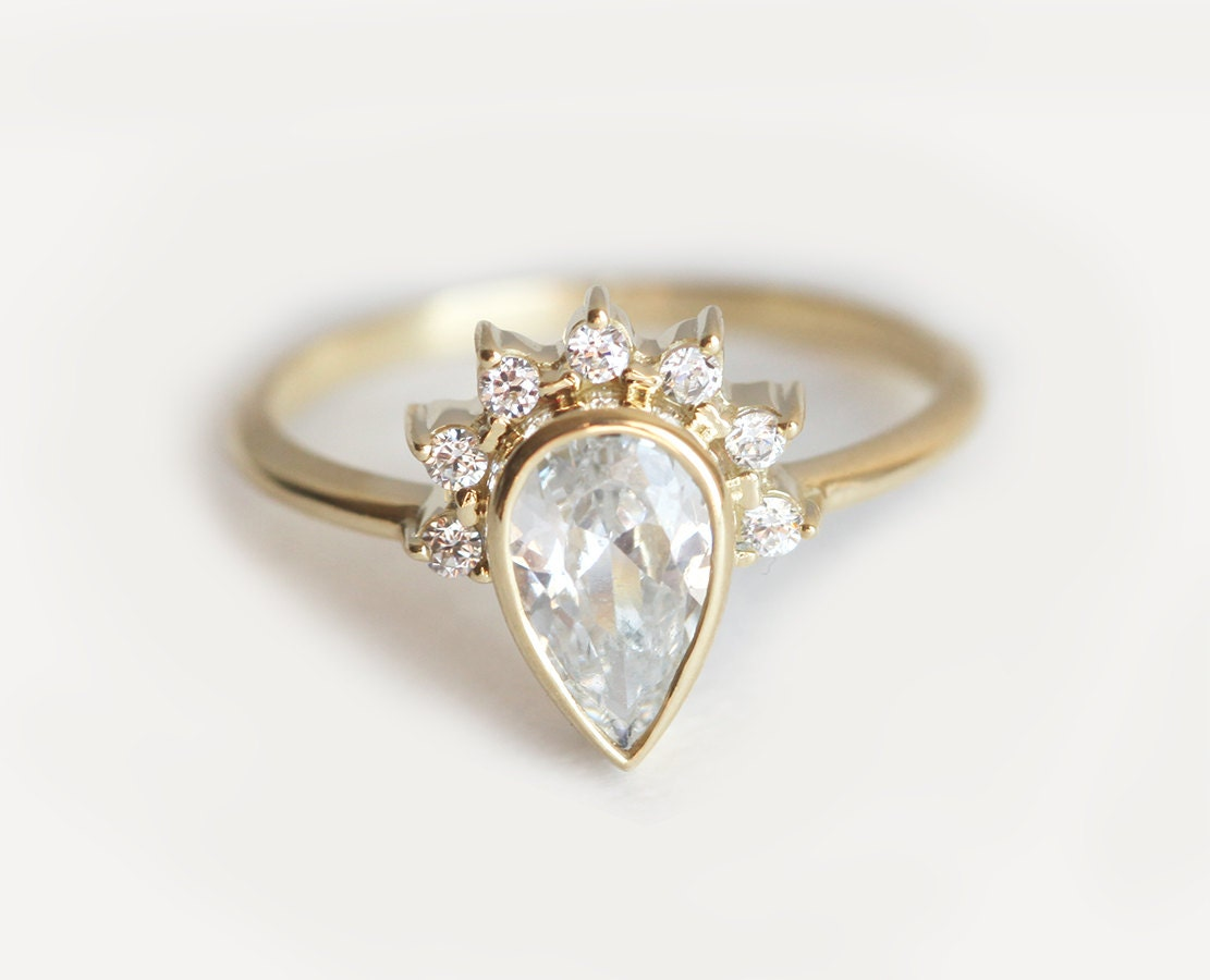 diamond gabrielandco gold white pave halo shaped engagement band so oh proposal diamonds pear rings stunning unique perfect
