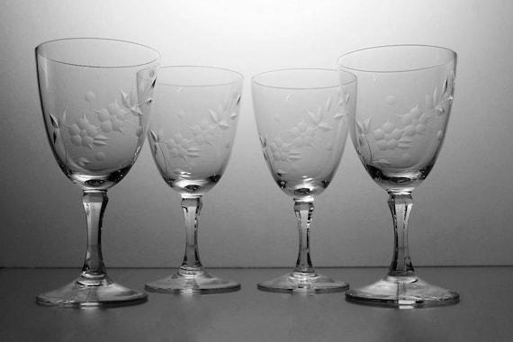 Crystal Etched Wine Glasses, Lenox, Brookdale, Set of 4, Etched Crystal, Wine Glasses, Barware, Stemware, Signed On Bottom