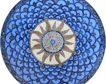 Round Stone Mosaic - Sola Blue