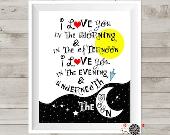 """Nursery wall art-Skidamarink """"I love you in the morning & in the afternoon-printable poster-kids song-Skidamarink poster"""
