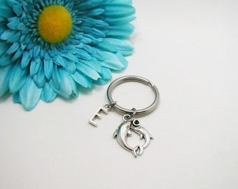 Dolphins Keychain - Dolphins Key Chain - Initial Keychain - Personalized Keychain - Initial Key Ring - Silver Dolphins Key Ring