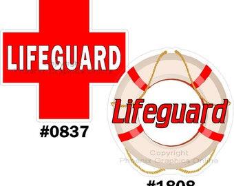 Lifeguard Red Cross Flotation Device Reflective decal / sticker
