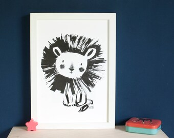 Cute lion print, wall art, for babies, young children, black and white, monochrome, ink illustration, a4 nursery print, by Inkpaintpaper