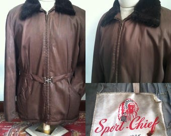 FINAL SALE --- Mens Vintage 1950s Sport-Chief Half Belt Coat, sz 44