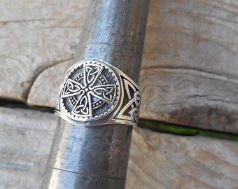 ON SALE Celtic cross ring handmade in sterling silver 925