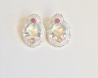 Old Hollywood Inspired Cluster Bead Embroidered Earrings