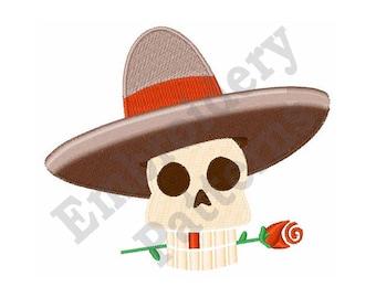 Skull With Sombrero - Machine Embroidery Design, Dia De Los Muertos - 4 X 4 Hoop, Dia De Los Muertos, Mexican, Day Of The Dead