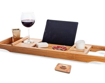 Bath Caddy Tray With Free + Soap Holder, Bathtub Extendable Sides , Bamboo Wood, Ipad Tablet, Wine Holder, Gift for him / her