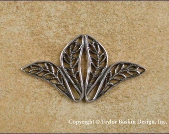 Antiqued Sterling Silver Plated Victorian Filigree Stamping (item 703 AS) - 6 Pieces