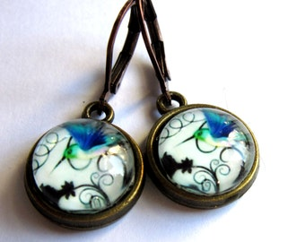 Hummingbird Earrings Blue Bird Fashion Jewelry