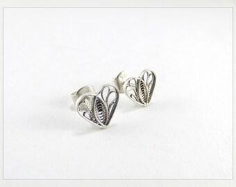 Sterling Silver Earrings • Heart Jewelry • Gold Earrings • Filigree Jewelry • Small Earrings • 18k Gold Fill Earrings • Paola Siza Jewelry