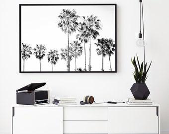 Palm Tree Art Print, Black And White, Modern Print, Minimalist Print, Coastal Wall Art, Palm Leaf Print, Printable Art