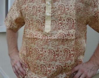 Men's Handmade Indian Cotton Round Chinese Collar Kurta Formal Shirt -  Odissa F641