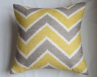 Contemporary Chevron Pillow Cover In Yellow and Grey