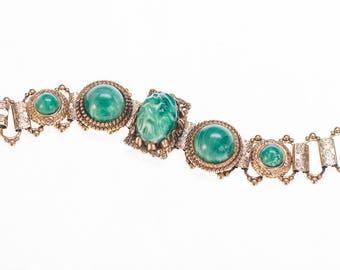 Chunky Bracelet Czech Bracelet Peking Glass Bracelet Green Bracelet Link Bracelet 1940s
